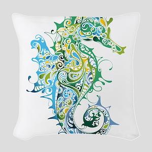 Paisley Seahorse Woven Throw Pillow