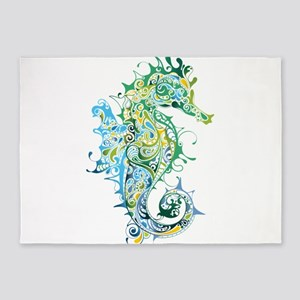 Paisley Seahorse 5'x7'Area Rug
