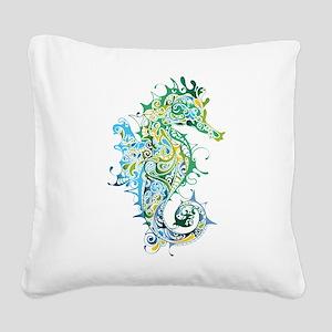 Paisley Seahorse Square Canvas Pillow