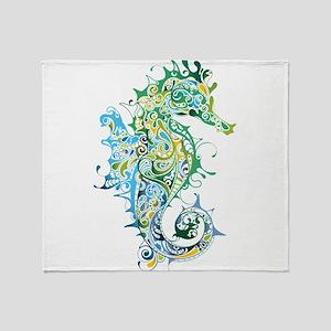Paisley Seahorse Throw Blanket