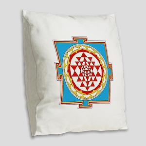 Shree Yantra Burlap Throw Pillow