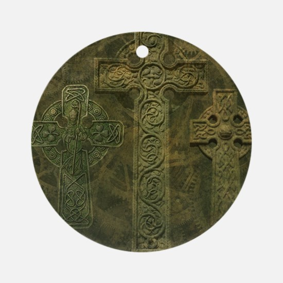 Celtic Crosses and Clockwork Ornament (Round)