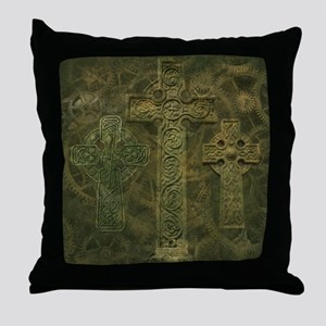 Celtic Crosses and Clockwork Throw Pillow