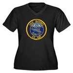 USS BARBEL Women's Plus Size V-Neck Dark T-Shirt