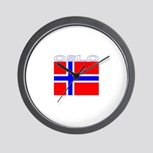 Oslo, Norway Flag (Dark) Wall Clock
