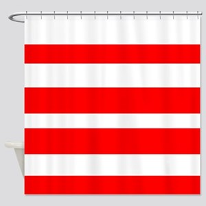 White And Red Horizontal Stripes Shower Curtain