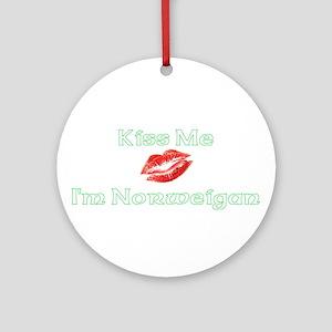 Kiss Me I'm Norweigan (Dark) Ornament (Round)