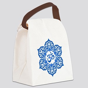 Blue Lotus Flower Yoga Om Canvas Lunch Bag