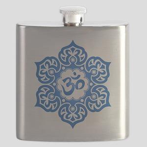 Blue Lotus Flower Yoga Om Flask