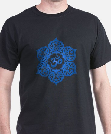 Blue Lotus Flower Yoga Om T-Shirt