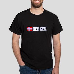 Bergen, Norway Flag II (Dark) Dark T-Shirt