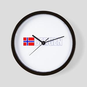 Bergen, Norway Flag II (Dark) Wall Clock