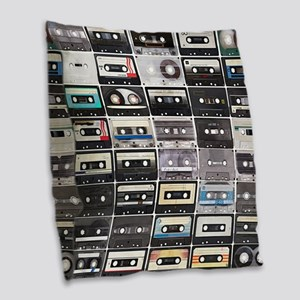 Cassette Tapes Burlap Throw Pillow