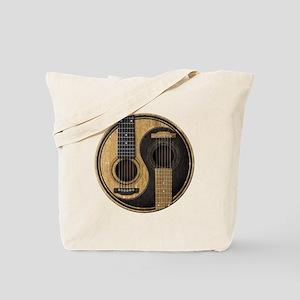 Old and Worn Acoustic Guitars Yin Yang Tote Bag