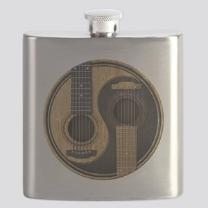 Old and Worn Acoustic Guitars Yin Yang Flask
