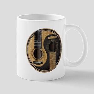 Old and Worn Acoustic Guitars Yin Yang Mugs