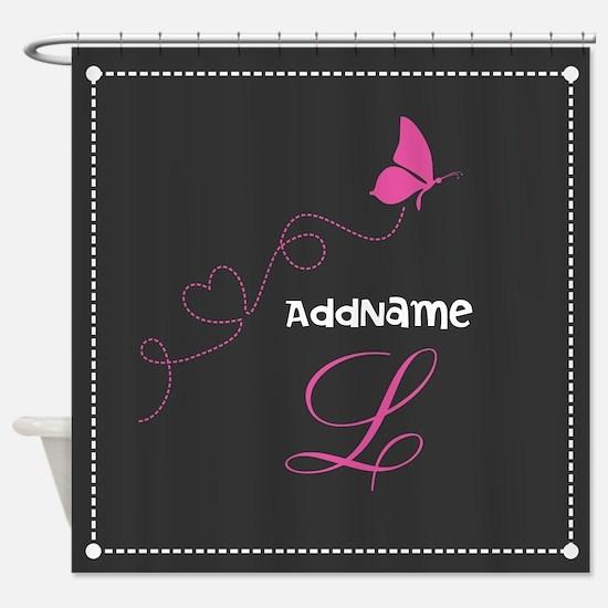 Custom Monogram Butterfly Shower Curtain