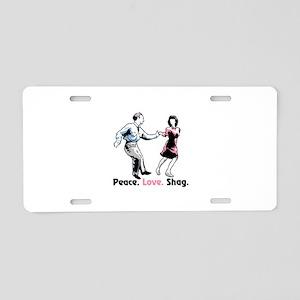 Peace. Love. Shag. Aluminum License Plate