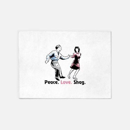 Peace. Love. Shag. 5'x7'Area Rug