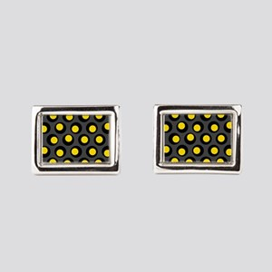 Yellow Black And Grey Wobbly Dots Rectangular Cuff