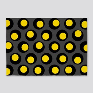 Yellow Black And Grey Wobbly Dots 5 X7 Area Rug