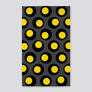 Yellow Black And Grey Wobbly Dots 3'x5' Area Rug