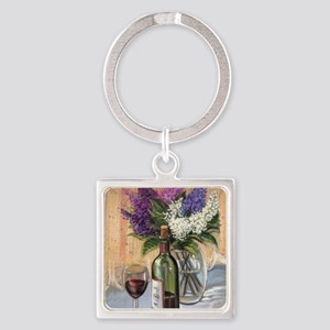 Glass of wine and lilac Keychains