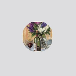 Glass of wine and lilac Mini Button