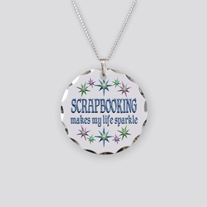 Scrapbooking Sparkles Necklace Circle Charm
