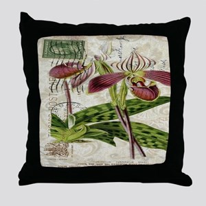 orchid french botanical art paris fashion Throw Pi