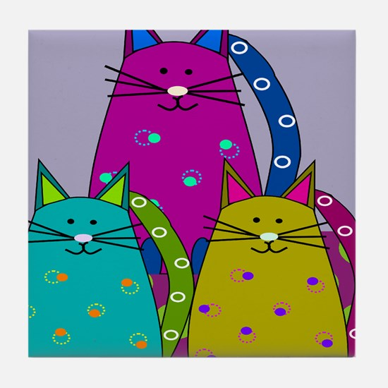 Whimsical Cats Tile Coaster