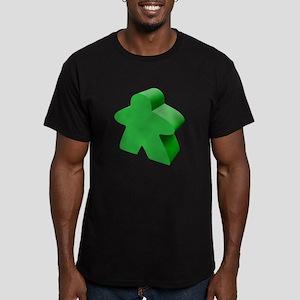 Green Meeple Men's Fitted T-Shirt (dark)