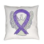 Lavender Awareness Ribbon Angel Everyday Pillow