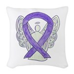 Lavender Awareness Ribbon Angel Woven Throw Pillow