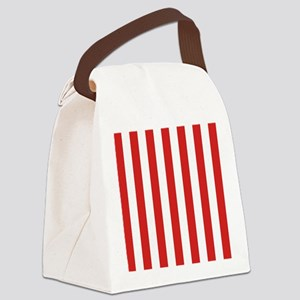 Lipstick Red Stripes Canvas Lunch Bag