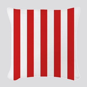 Lipstick Red Stripes Woven Throw Pillow