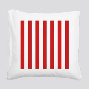 Lipstick Red Stripes Square Canvas Pillow
