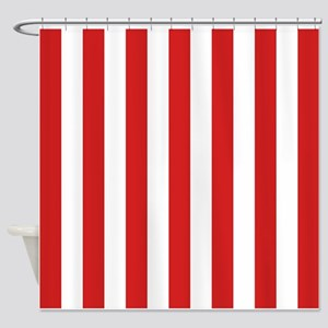 Lipstick Red Stripes Shower Curtain