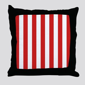 Lipstick Red Stripes Throw Pillow
