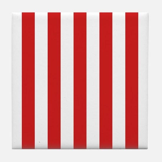 Lipstick Red Stripes Tile Coaster