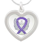 Lavender Awareness Ribbon Angel Necklaces