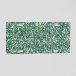 vintage pattern, green Aluminum License Plate