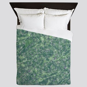 vintage pattern, green Queen Duvet
