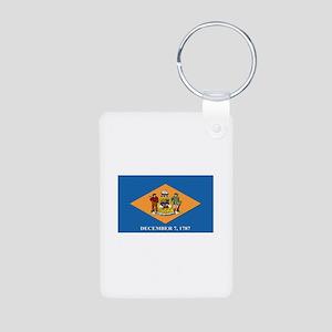 Flag of Delaware Aluminum Photo Keychain