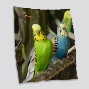 Budgie Burlap Throw Pillow