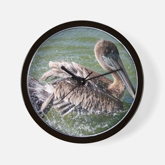 Brown Pelican Splashing Wall Clock