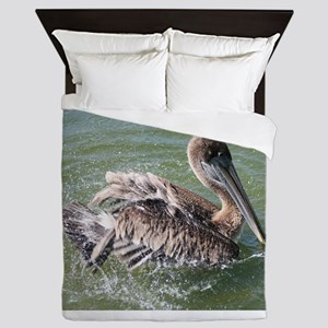 Brown Pelican Splashing Queen Duvet