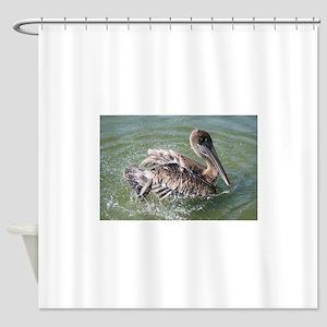 Brown Pelican Splashing Shower Curtain