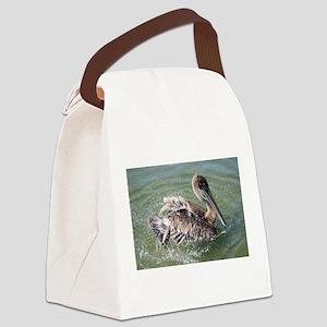 Brown Pelican Splashing Canvas Lunch Bag