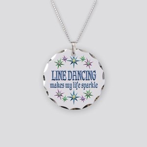 Line Dancing Sparkles Necklace Circle Charm
